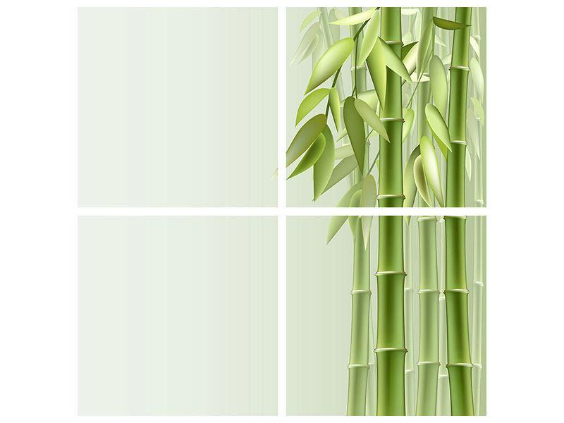 Leinwandbild 4-teilig Bambuswall