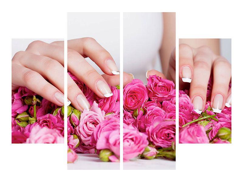 Leinwandbild 4-teilig Hände auf Rosen gebettet