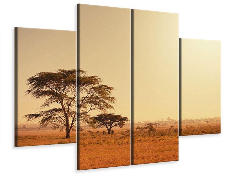 Leinwandbild 4-teilig Weideland in Kenia