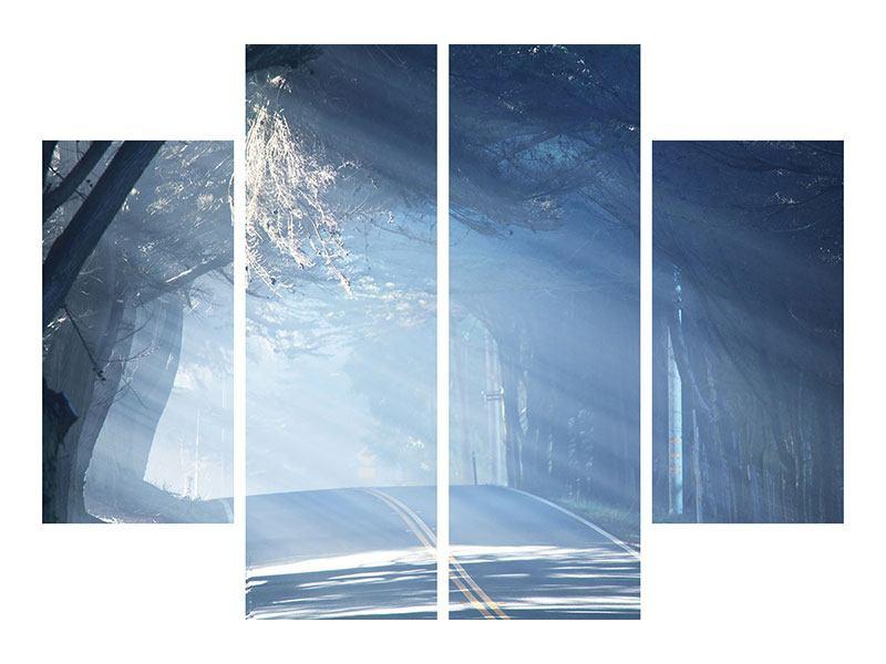 Leinwandbild 4-teilig Lichtdurchflutete Baumallee