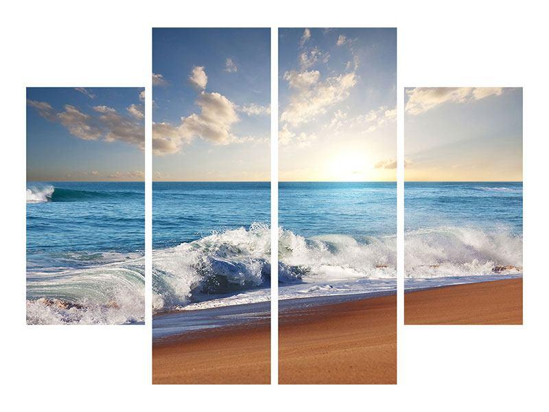 Leinwandbild 4-teilig Die Wellen des Meeres