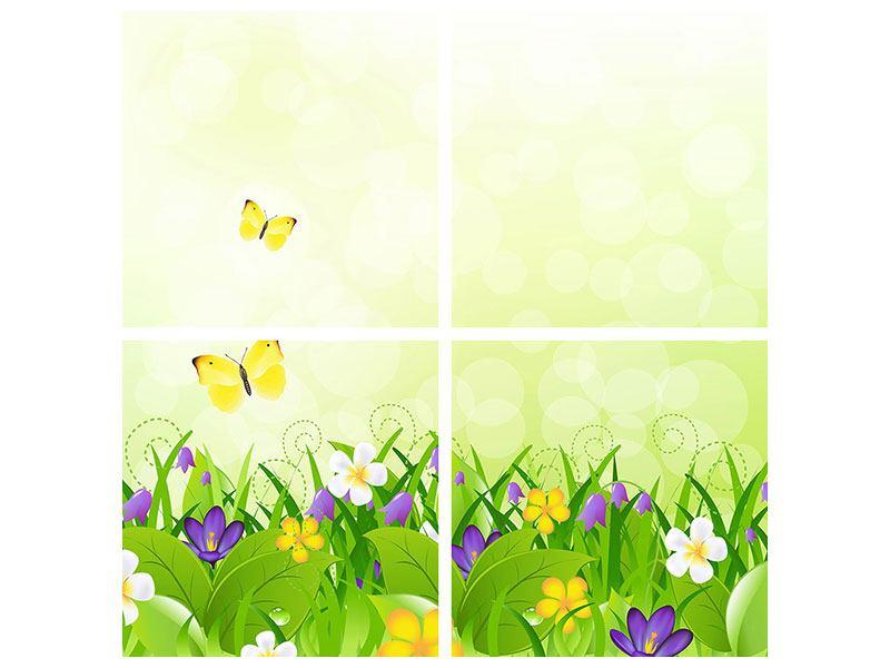 Leinwandbild 4-teilig Lustige Schmetterlinge