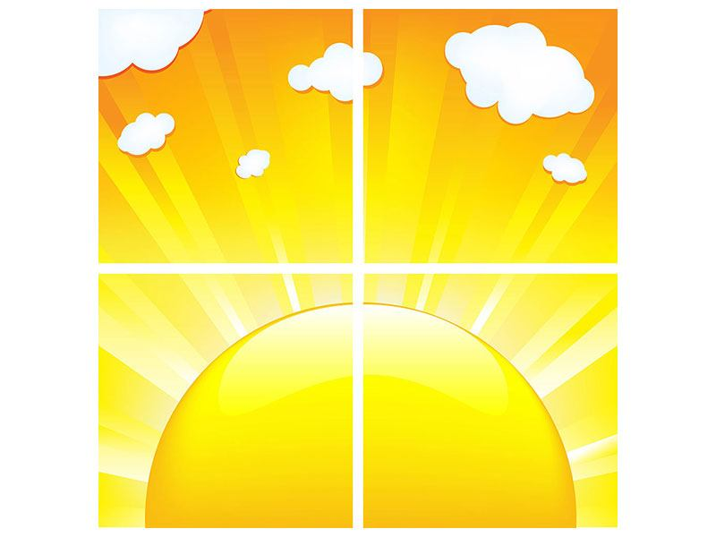 Leinwandbild 4-teilig Die Sonne geht auf