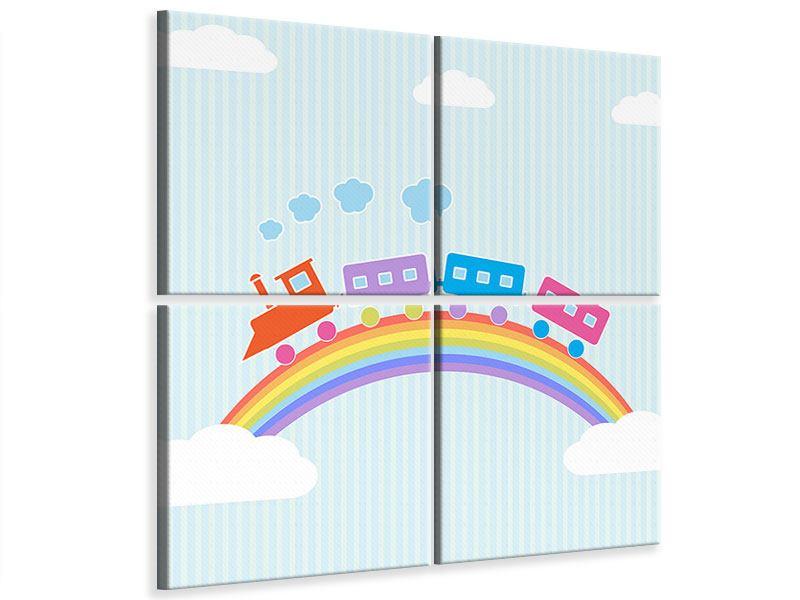 Leinwandbild 4-teilig Der Regenbogenzug