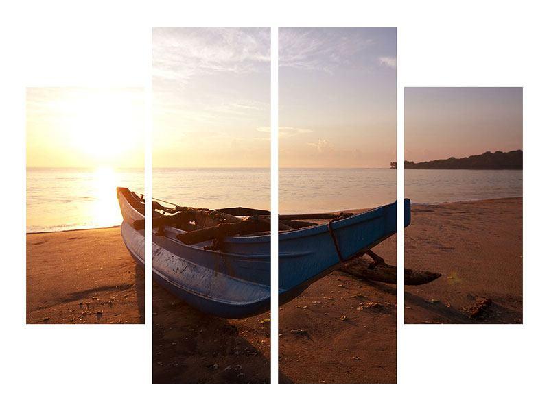 Leinwandbild 4-teilig Das gestrandete Boot