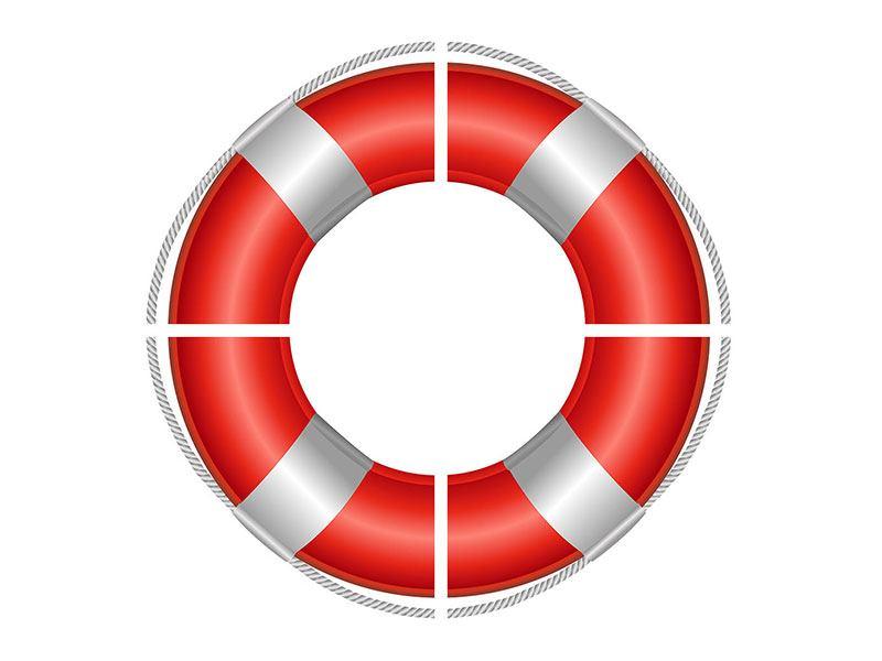 Leinwandbild 4-teilig Rettungsring