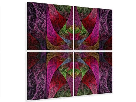 Leinwandbild 4-teilig Fraktales Muster