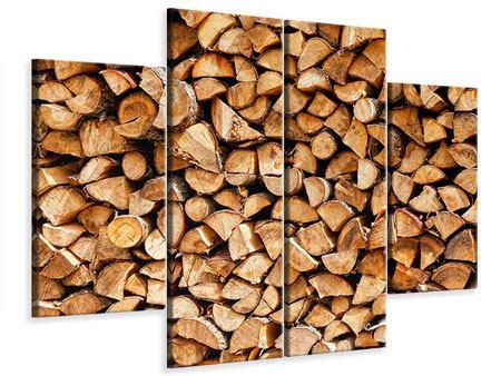 Leinwandbild 4-teilig Gestapeltes Holz