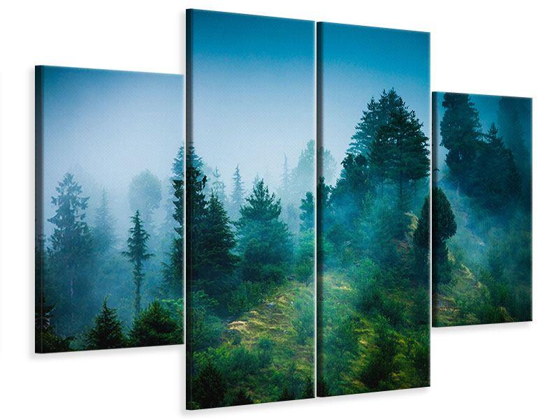 Leinwandbild 4-teilig Geheimnisvoller Wald