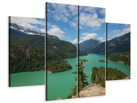 Leinwandbild 4-teilig Diablo Bergsee