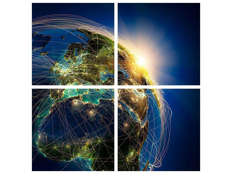 Leinwandbild 4-teilig Der Planet Erde