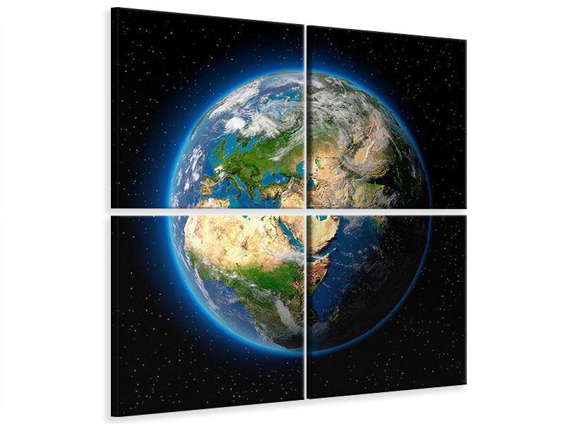 Leinwandbild 4-teilig Die Erde als Planet