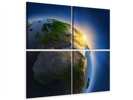Leinwandbild 4-teilig Sonne und Erde