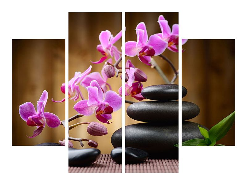 Leinwandbild 4-teilig Wellness-Steine