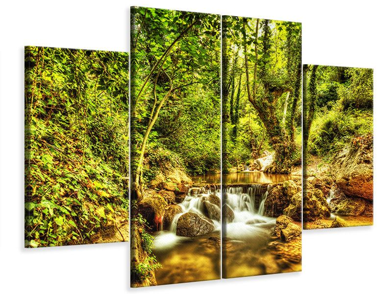 Leinwandbild 4-teilig Wasserfall im Wald