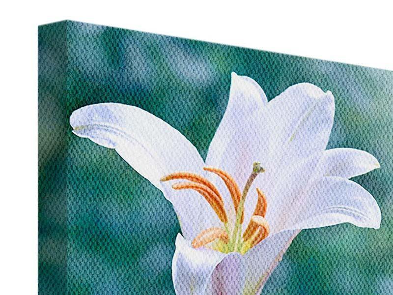 Leinwandbild 4-teilig Weisses Lilienduo