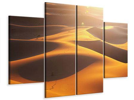 Leinwandbild 4-teilig Wüstenwanderung