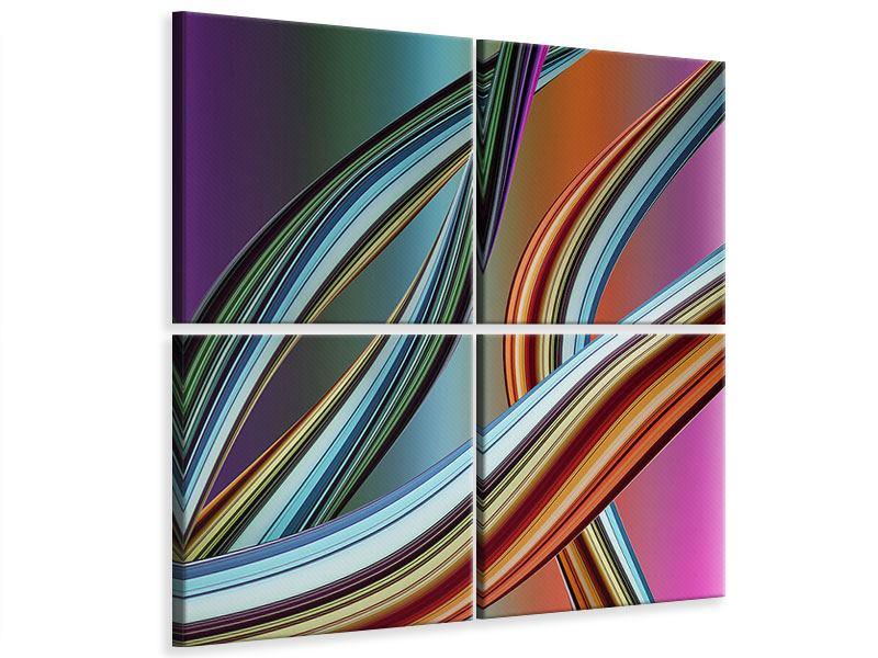 Leinwandbild 4-teilig Wellengleich