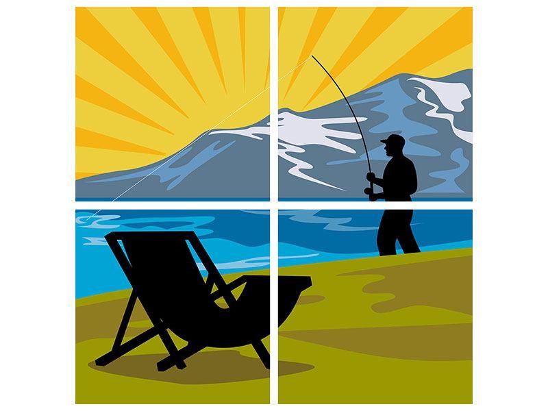 Leinwandbild 4-teilig Der Angler