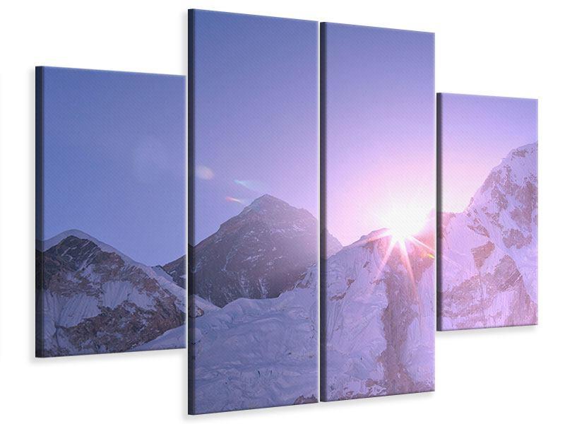 Leinwandbild 4-teilig Sonnenaufgang beim Mount Everest