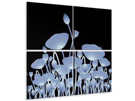 Leinwandbild 4-teilig Futurische Blumen