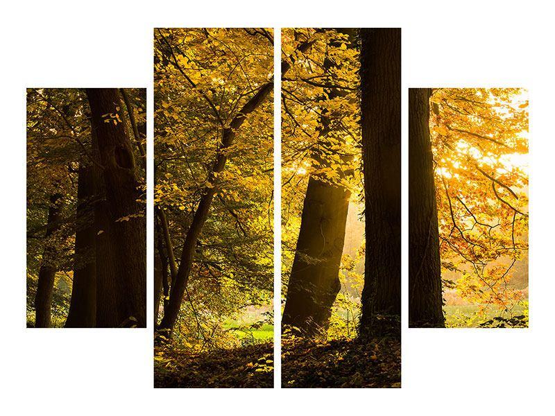 Leinwandbild 4-teilig Herbstlaub