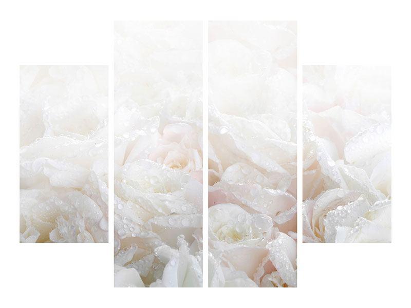 Leinwandbild 4-teilig Weisse Rosen im Morgentau