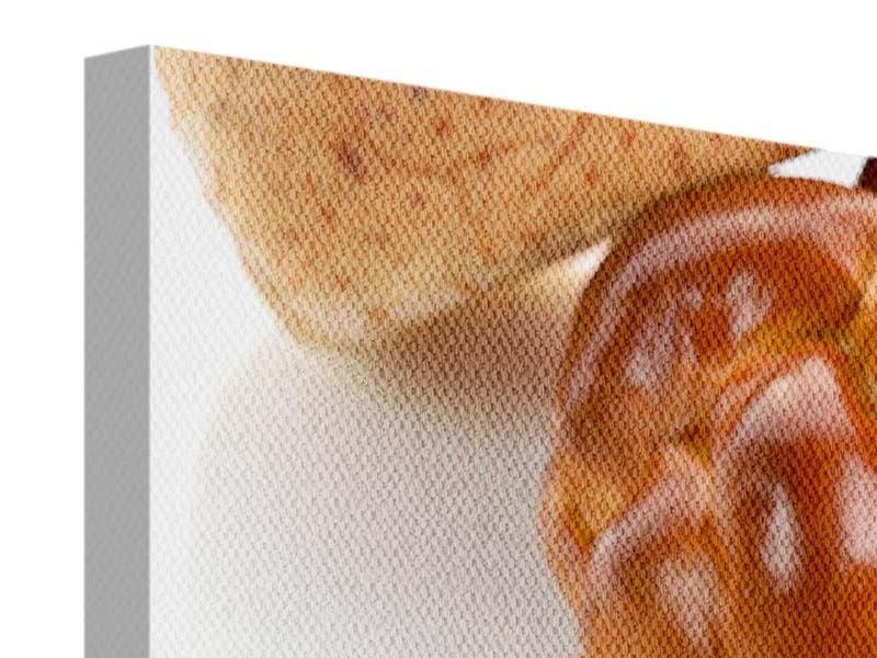 Leinwandbild 4-teilig Frühstücksbrötchen