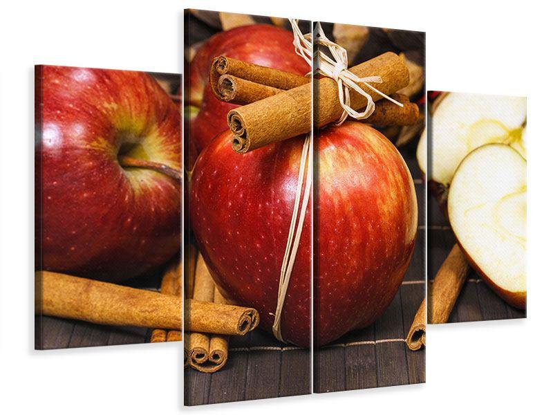 Leinwandbild 4-teilig Äpfel