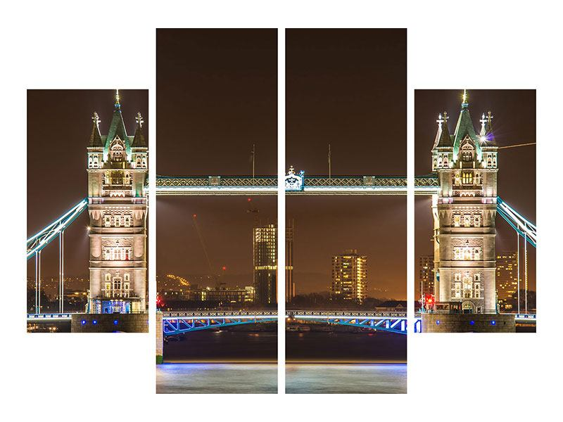 Leinwandbild 4-teilig Tower Bridge bei Nacht