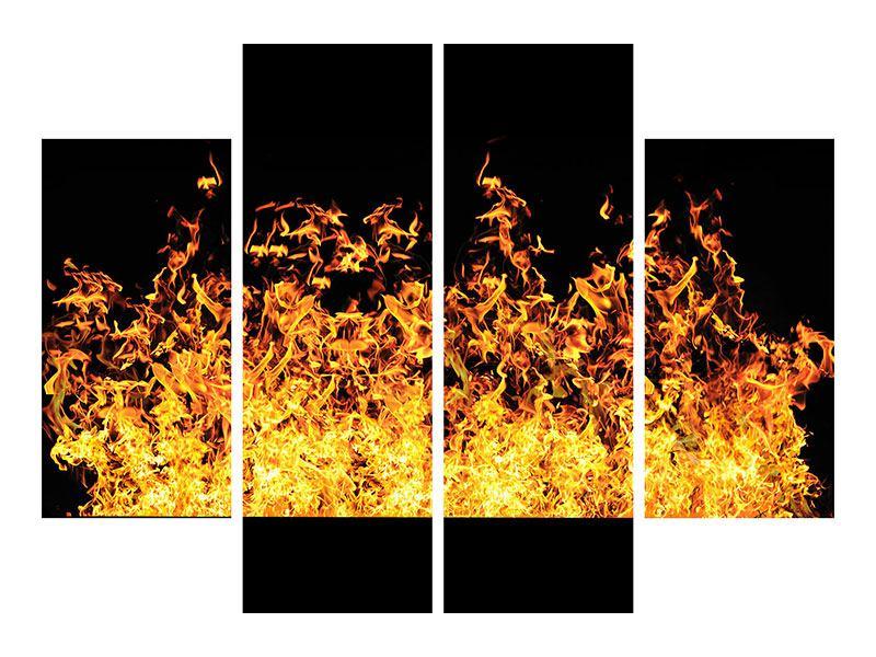 Leinwandbild 4-teilig Moderne Feuerwand