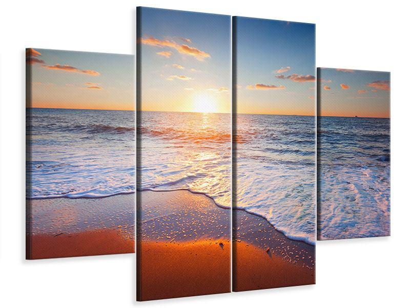 Leinwandbild 4-teilig Sonnenuntergang am Horizont