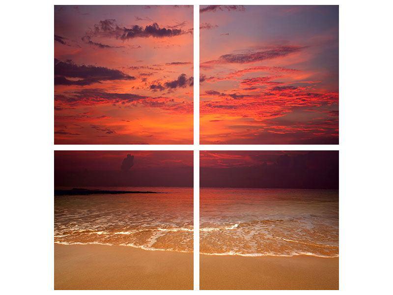 Leinwandbild 4-teilig Zeile auf den Sand
