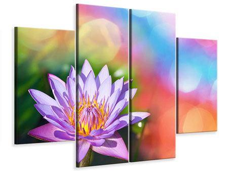 Leinwandbild 4-teilig Colored Lotus