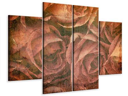 Leinwandbild 4-teilig Rosenbukett