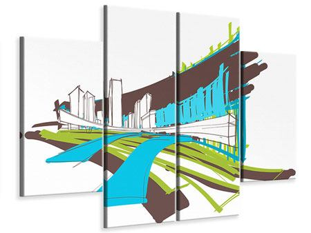 Leinwandbild 4-teilig Graffiti Street-Art