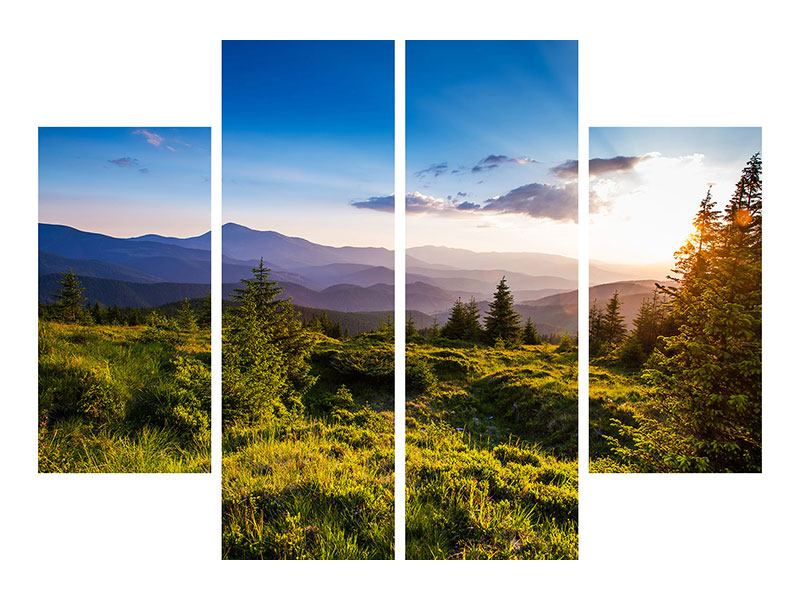 Leinwandbild 4-teilig Friedliche Landschaft