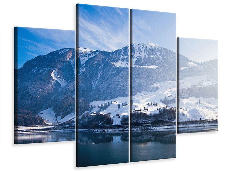 Leinwandbild 4-teilig Winterwunderland