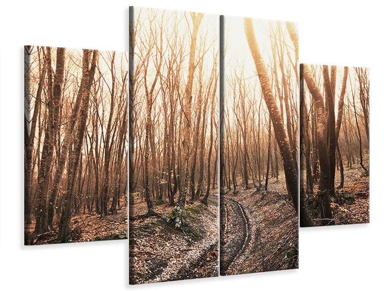 Leinwandbild 4-teilig Der kahle Wald