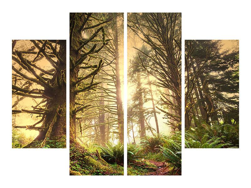 Leinwandbild 4-teilig Sonnenuntergang im Dschungel