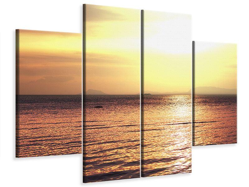 Leinwandbild 4-teilig Sonnenuntergang an der See
