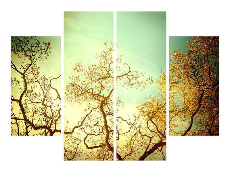 Leinwandbild 4-teilig Bäume im Herbst