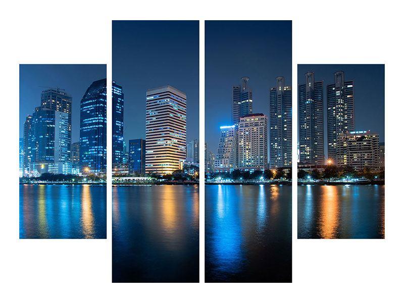 Leinwandbild 4-teilig Skyline Bangkok bei Nacht