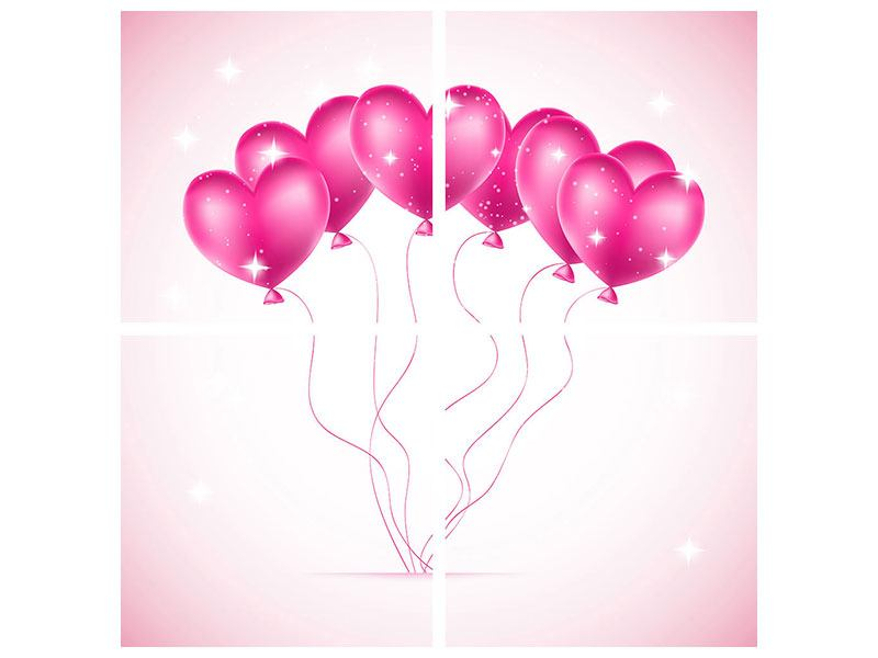 Leinwandbild 4-teilig Herzballons