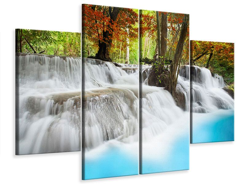 Leinwandbild 4-teilig Erawan Wasserfall