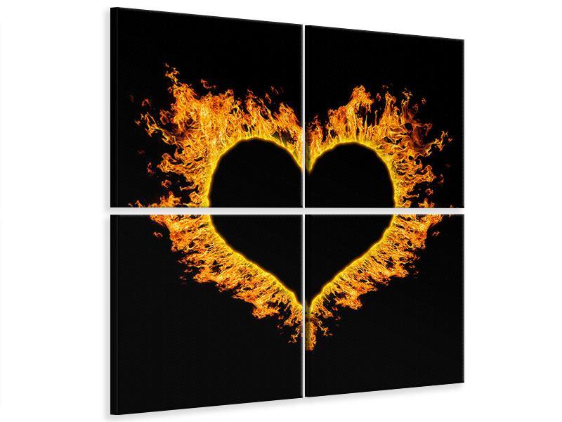 Leinwandbild 4-teilig Herzflamme