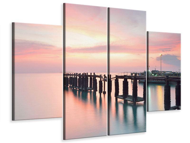 Leinwandbild 4-teilig Der beruhigende Sonnenuntergang