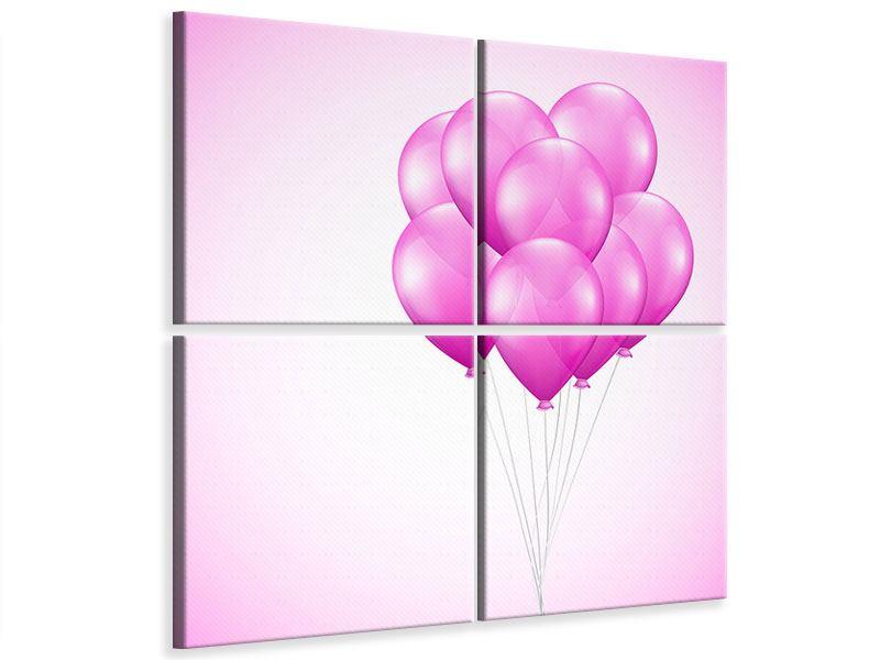 Leinwandbild 4-teilig Rosarote Luftballons