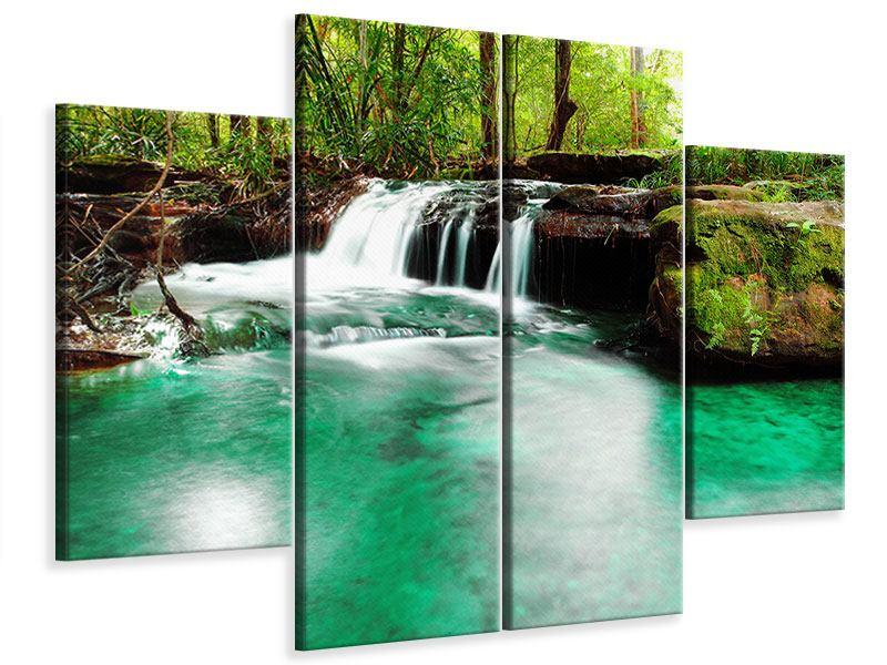 Leinwandbild 4-teilig Der Fluss am Wasserfall