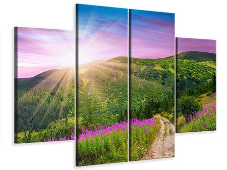 Leinwandbild 4-teilig Eine Sommerlandschaft bei Sonnenaufgang